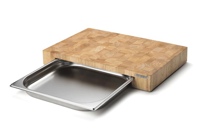 Planche à découper Continenta en bois 48x32,5x6cm + bac inox