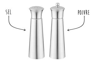 Set moulins sel & poivre Berghoff Essentials acier inox conique