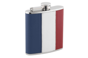 Flasque inox cuir tricolore + bouchon baïonnette 180ml