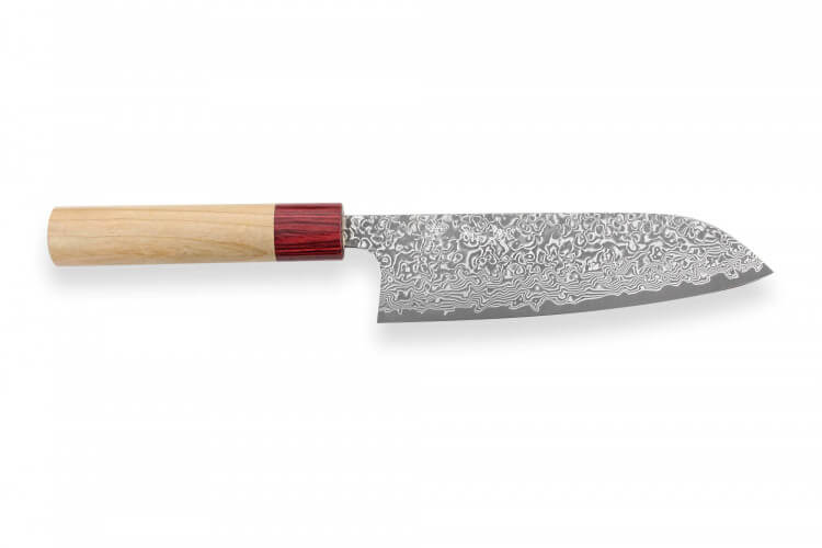 Couteau santoku japonais artisanal Yoshimi Kato 17cm VG10 Nickel Damascus cerisier
