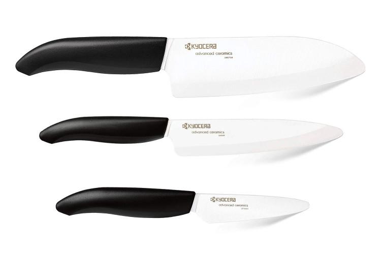 Coffret 3 couteaux Kyocera céramique santoku + office + petit office
