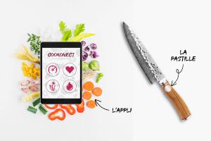 Pastille connectée COOKONECT pour couteau de cuisine
