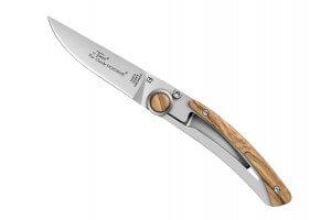 Couteau pliant Le Thiers Liner Lock Claude Dozorme bois d'olivier 10,5cm