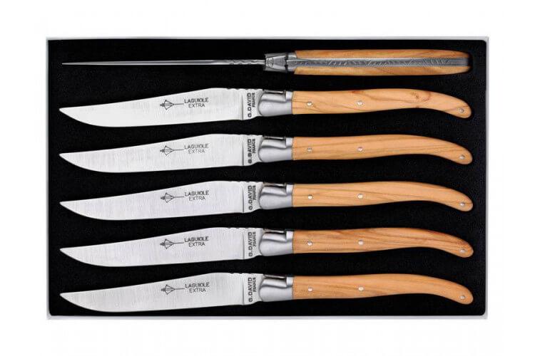Coffret couteaux  Laguiole G.DAVID, 6 couteaux table 23 cm inox manche olivier, mitre inox brossé, guilloché