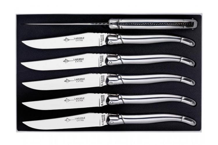 Coffret couteaux Laguiole G.DAVID, 6 couteaux table 23 cm tout inox, guilloché