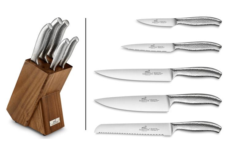 Bloc en bois de pin/acacia + 5 couteaux martelés Eris Sabatier International