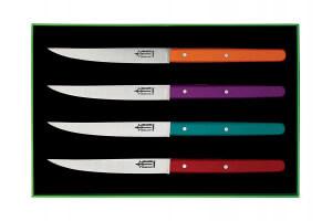 """Coffret 4 couteaux de table Laguiole G.DAVID 23cm inox manche hêtre coloré """"Néo"""""""