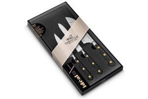 Coffret 3 couteaux Sabatier Idéal Inox rivets laiton Office + Universel + Mini Santoku
