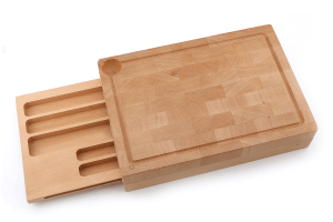 Planche à découper Sabatier International en hêtre + tiroir de rangement coulissant