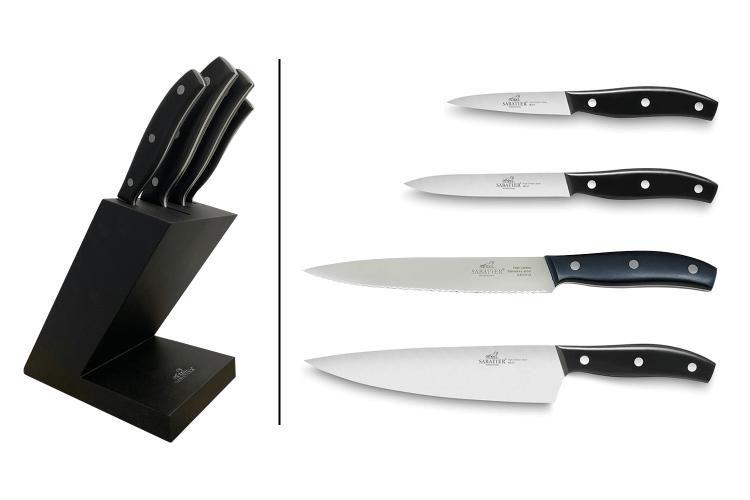 Bloc en bois Sabatier International 4 couteaux inox et ABS noir