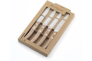 Coffret 4 couteaux d'office dentelés Lou Laguiole Util FOREST bois nature