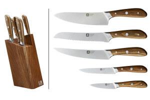 Bloc 5 couteaux de cuisine Richardson Scandi manche frêne
