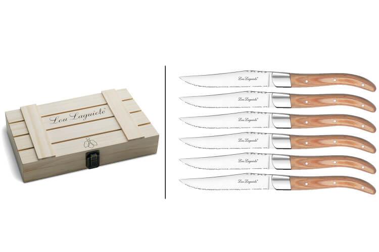 Coffret bois 6 couteaux à steak Lou Laguiole