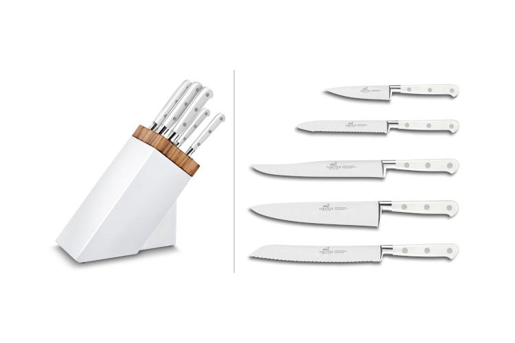 Bloc Sabatier blanc et olivier 5 couteaux forgés Toque Blanche