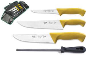 Trousse professionnelle de boucher 3 couteaux + 1 fusil Sanelli Skin