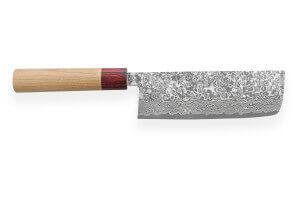 Couteau nakiri japonais artisanal Yoshimi Kato 16,5cm VG10 Nickel Damascus cerisier