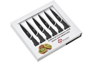 Coffret 6 couteaux steak Pradel Excellence lame noire 10cm revêtement anti-adhérent