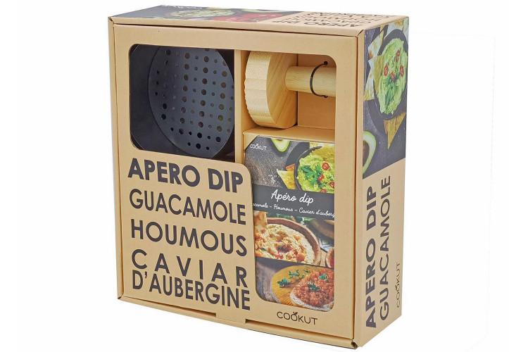 Kit apéro dip Cookut - 1 pilon + 1 grille en métal + 1 bol céramique + 1 livre de recettes