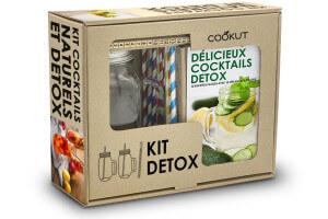 Coffret kit détox Cookut éco-friendly 2 mason jars + 10 pailles + 1 mélangeur doseur + 1 livre de recettes