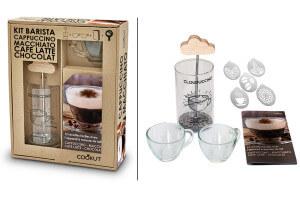 Coffret cadeau Cookut spécial Barista 1 mousseur + 2 tasses + 1 livre recettes + 5 pochoirs