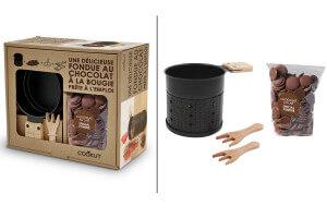Coffret fondue au chocolat à la bougie pour 2 personnes 3 accessoires + 150g de chocolat