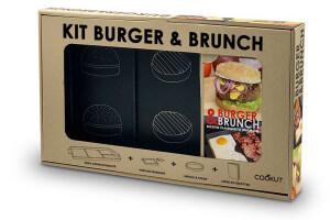 Coffret cadeau Cookut kit burger & brunch 1 grill + 1 poêlon + 1 moule à steak 1 livre de recettes