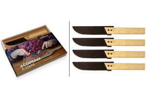 Set de 4 couteaux steak Cookut Eve 10cm acier 18/10 manche érable