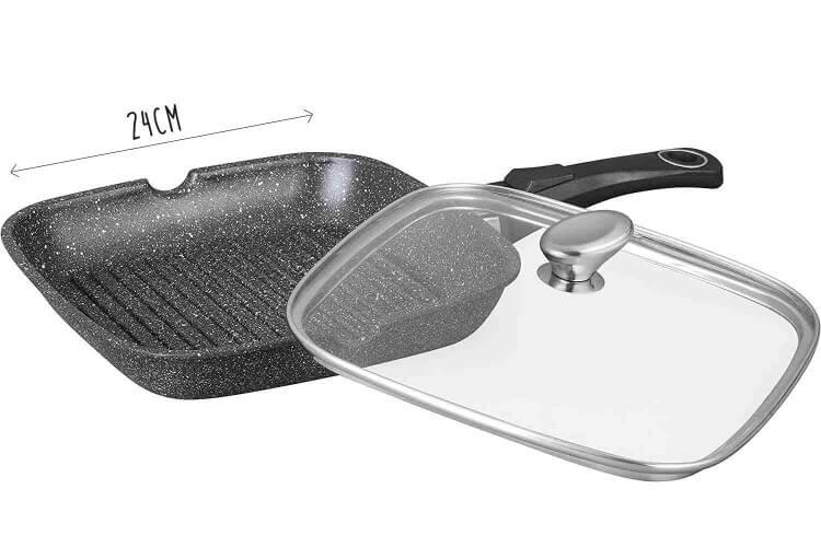 Poêle à grill en fonte Pradel Excellence Premium 24x24cm façon pierre tous feux/ induction