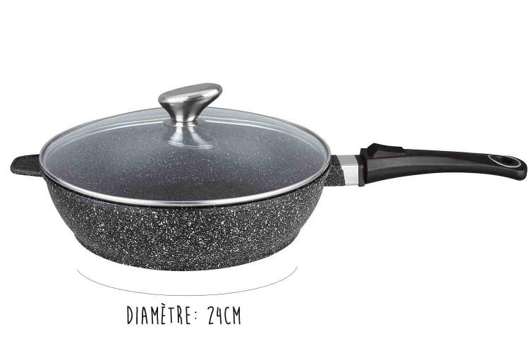Sauteuse en fonte Pradel Excellence Premium 24cm façon pierre tous feux/ induction