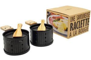 Service à raclette à la bougie Cookut Lumi noir - Services individuels poêlons et spatules