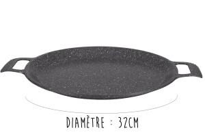 Plat à pizza en fonte Pradel Excellence Premium 32cm façon pierre tous feux/ induction