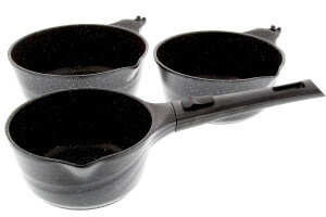 Set de 3 casseroles en fonte Pradel Excellence Onda 16/18/20cm tous feux / induction