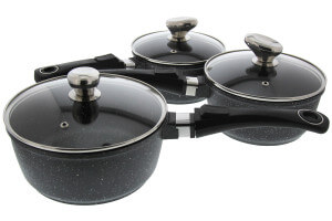 Set de 3 casseroles Pradel Excellence Onda 16/18/20cm tous feux/ induction - 3 manches amovibles