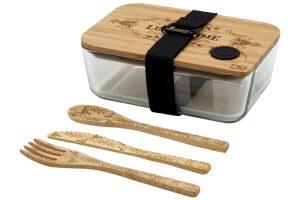 Coffret Cookut Nu bento box verre et bambou + couverts et sangle zéro déchet
