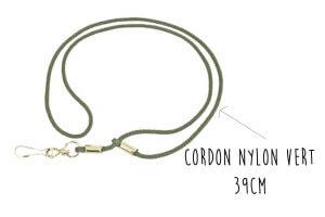 Cordon sifflet Elless nylon vert 39cm