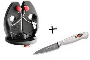 Aiguiseur pro DICK RAPID STEEL ACTION broches croisées avec socle + 1 couteau d'office offert