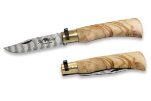 Couteau artisanal Old Bear damas M lame inox 8cm manche olivier avec virole
