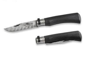 Couteau artisanal Old Bear damas M lame inox 8cm bois d'ayous stratifié avec virole
