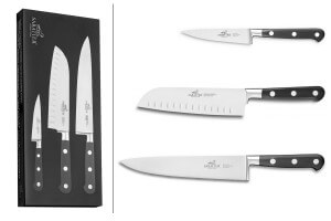 Coffret 3 couteaux Sabatier International Licorne Office + Santoku + Chef
