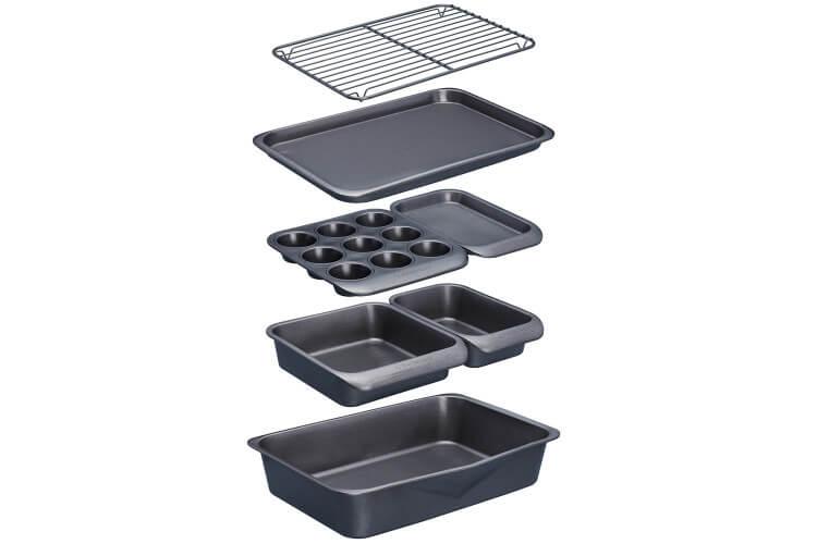 Lot de 7 moules pâtisserie et plats MasterClass Smartspace antiadhésifs acier