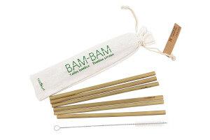 Set 6 pailles en bambou Cookut Bam-Bam + brosse de nettoyage et sac de rangement