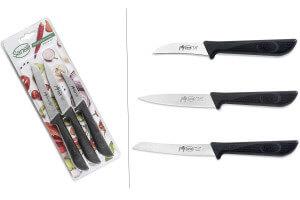 Set 3 couteaux de cuisine Sanelli Jolly acier inox manche noir