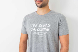 """Tee-shirt officiel Couteauxduchef """"J'peux pas j'ai cuisine"""""""