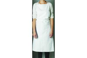 Tablier valet blanc en toile Matfer avec bavette sans poche