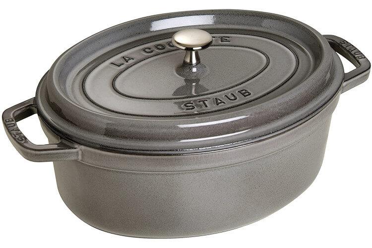 Cocotte STAUB ovale en fonte émaillée gris graphite