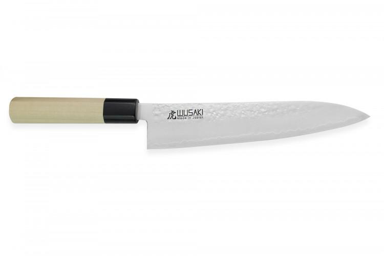 Couteau de chef japonais artisanal Wusaki KANJO AS 21cm manche en magnolia