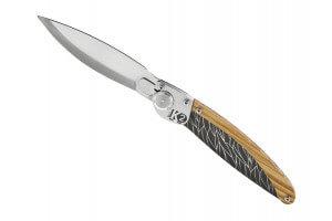 Couteau pliant K2.01M manche olivier et acier décor plumes 11,5cm