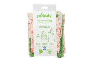 Set de 3 sacs zéro déchet Pebbly en coton biologique pour légumes, pain, vrac