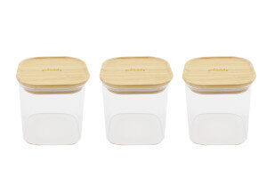 Set de 3 boîtes carrées en verre Pebbly avec couvercle en bambou - 800ml