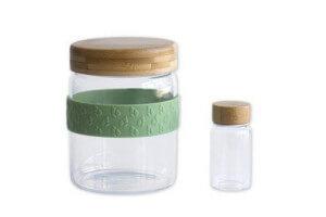 Set déjeuner nomade Pebbly 2 bocaux en verre avec couvercle bambou + 1 bande silicone